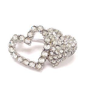 Swarovski Crystal Pave Double Heart Brooch Pin